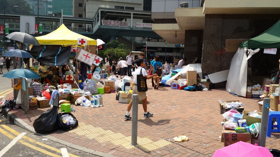 Food and water stockpiled, and trash collected by volunteers