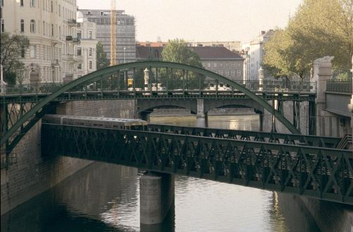 ...and emerges into the open again where it joins the Donaukanal.