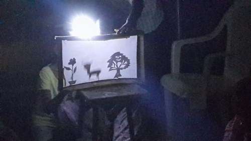 A shadow puppet play made by 8-year-olds using home-made props