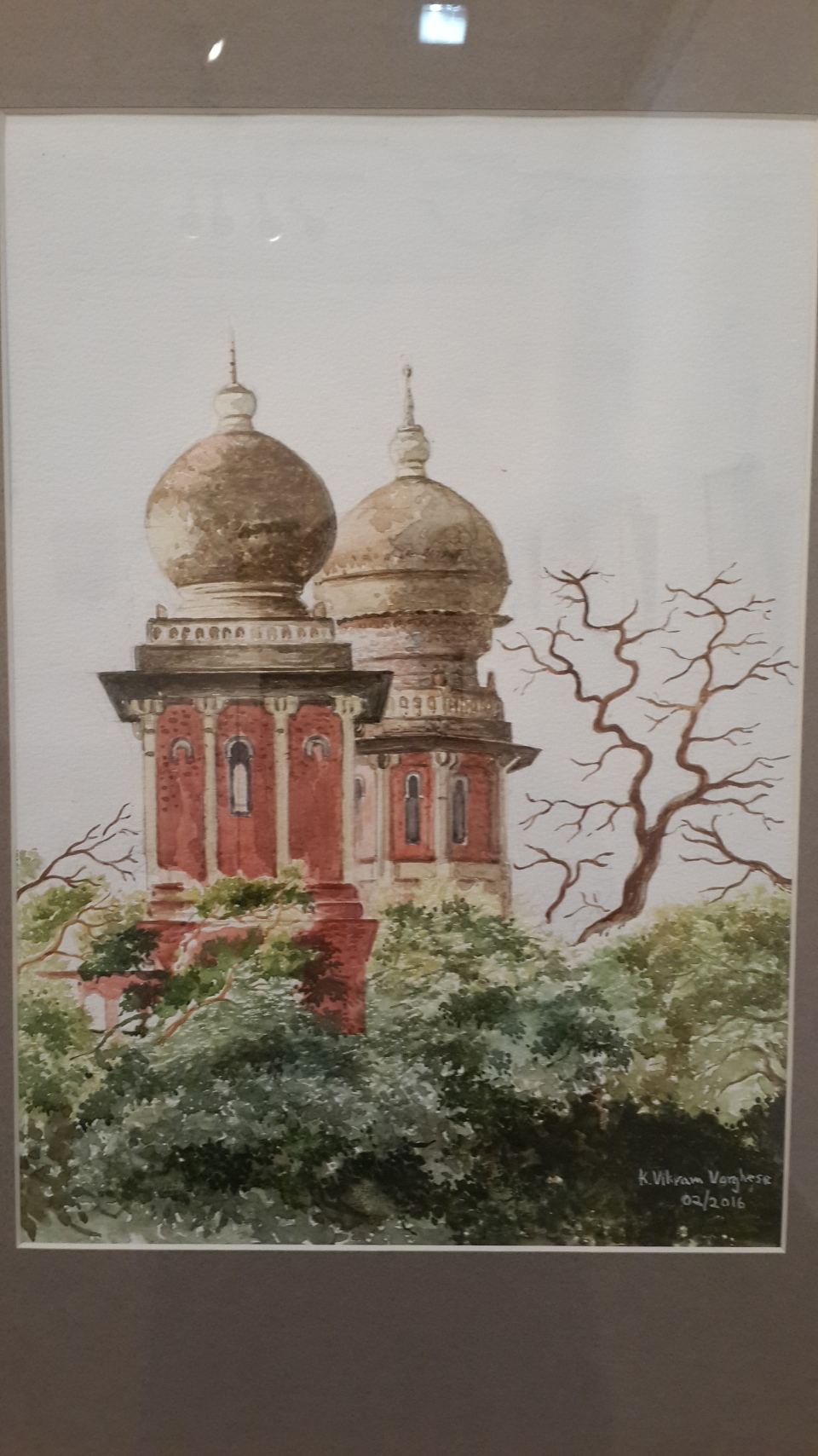 High Court building, Chennai, Indo-Saracenic architecture. Watercolor by Vikram Verghese