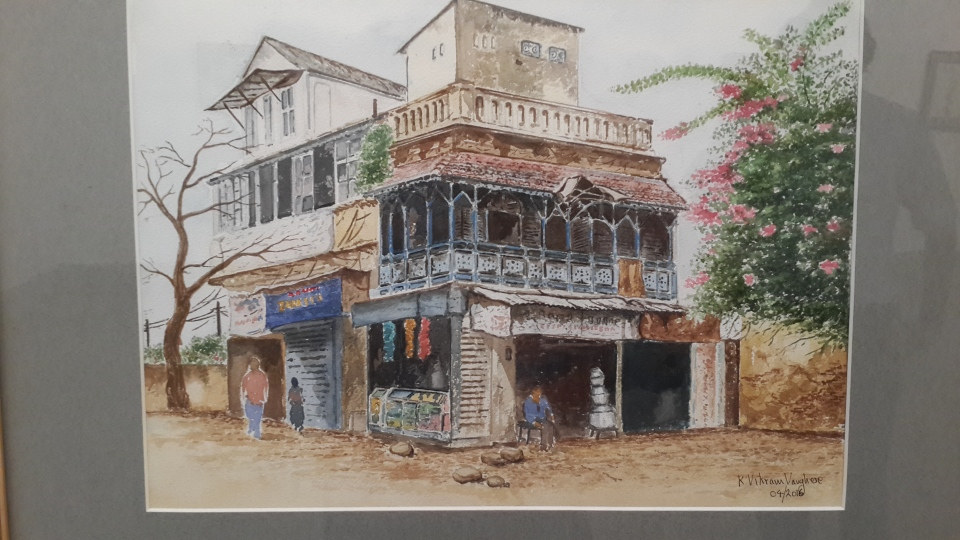 Old homes replaced by highrises. Watercolor by Vikram Verghese