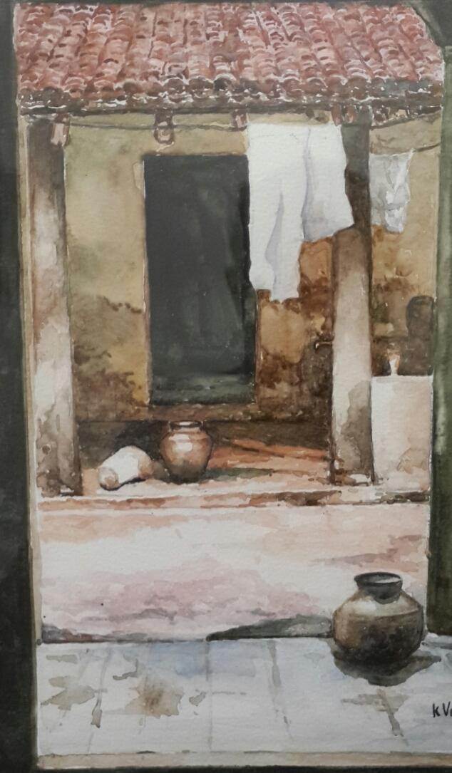 Inner courtyard, Chennai. Watercolor by Vikram Verghese.